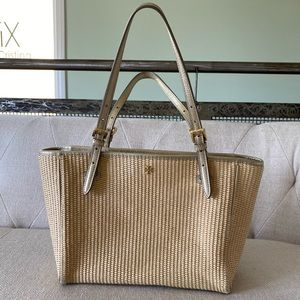 Tan Tweed tote with gold straps